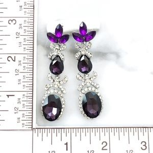 Cherryl's Jewelry - NEW Purple Crystal Special Occasion Drop Earrings